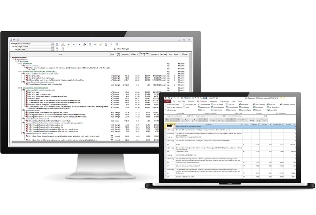 QSPlus International - Bills of Quantities - Data tree or data sheet